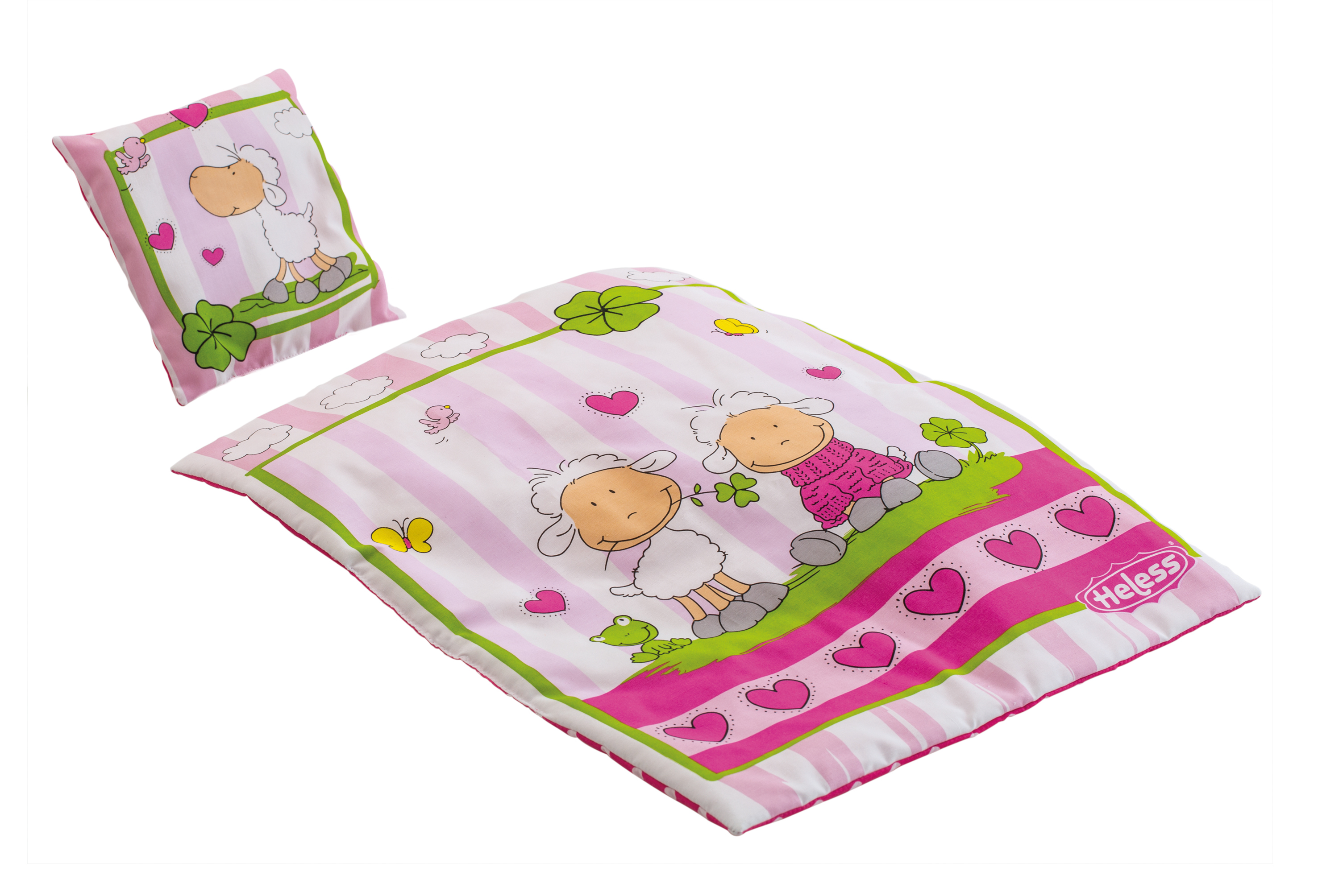 """Puppenbettdecke """"Glückschäfchen"""" (44x34 cm) mit Kissen (16x16 cm)"""