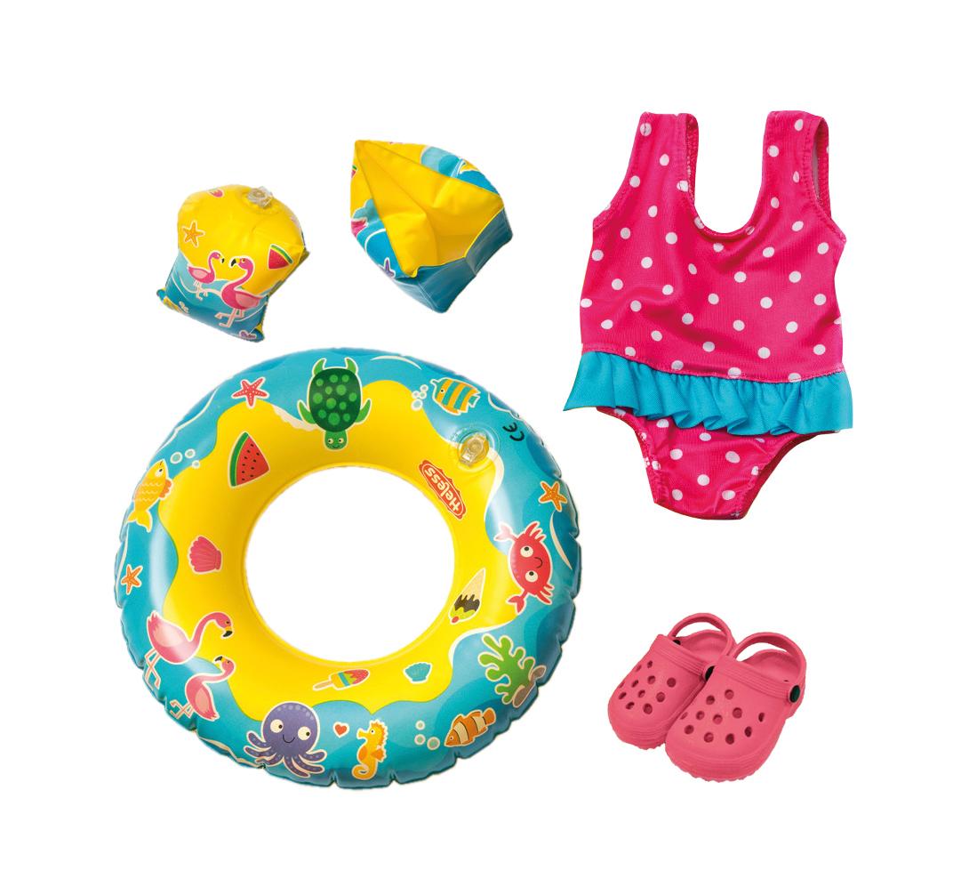 Badeanzug, Clogs, Schwimmring und -flügel