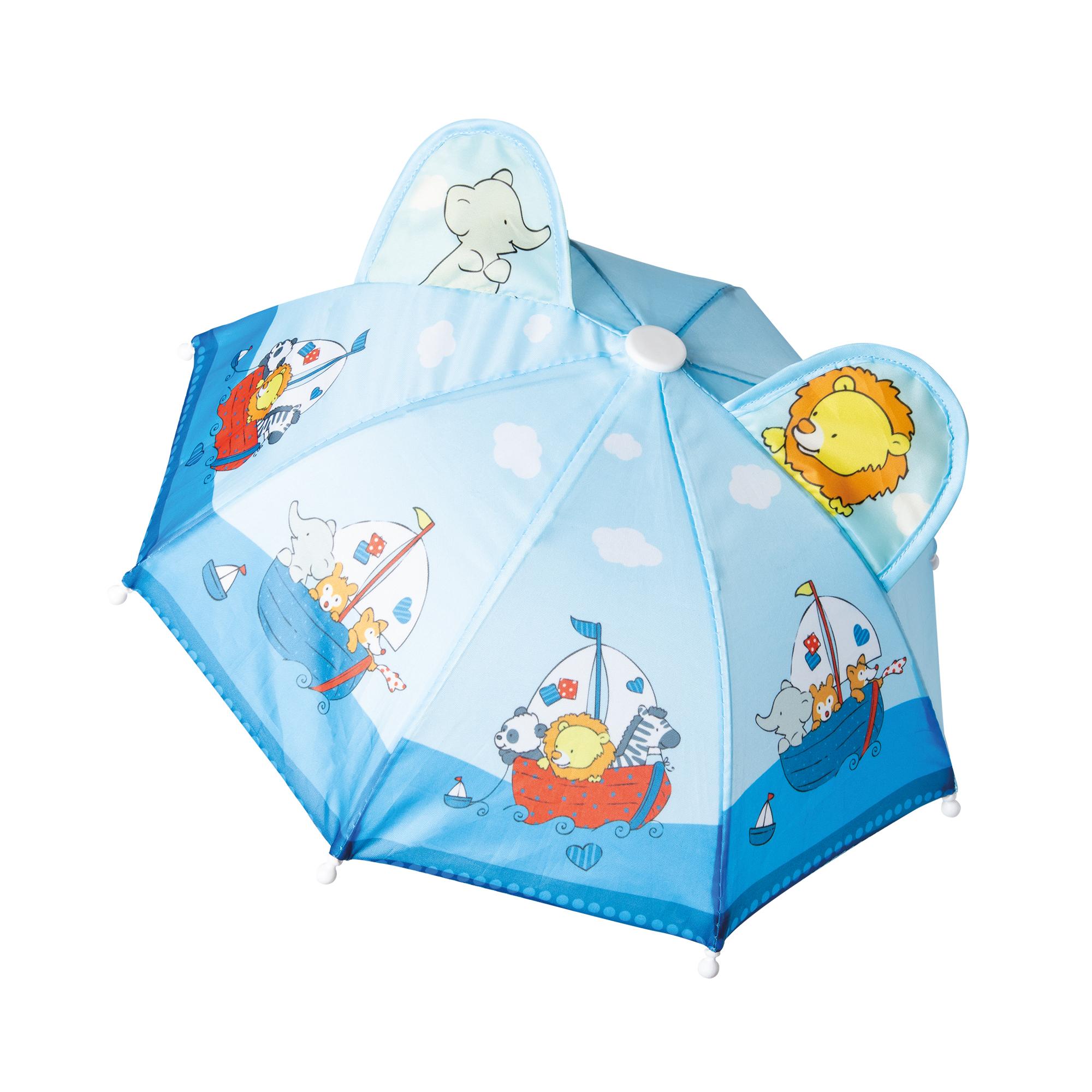 Regencape mit Puppenschirm und Regenstiefeln, Gr. 28-35 cm