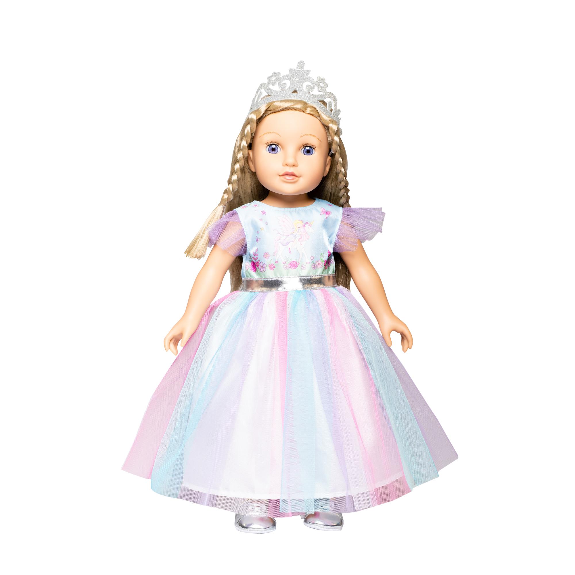 """Kleid """"Fee und Einhorn"""" mit silberner Krone, Gr. 35-45 cm"""
