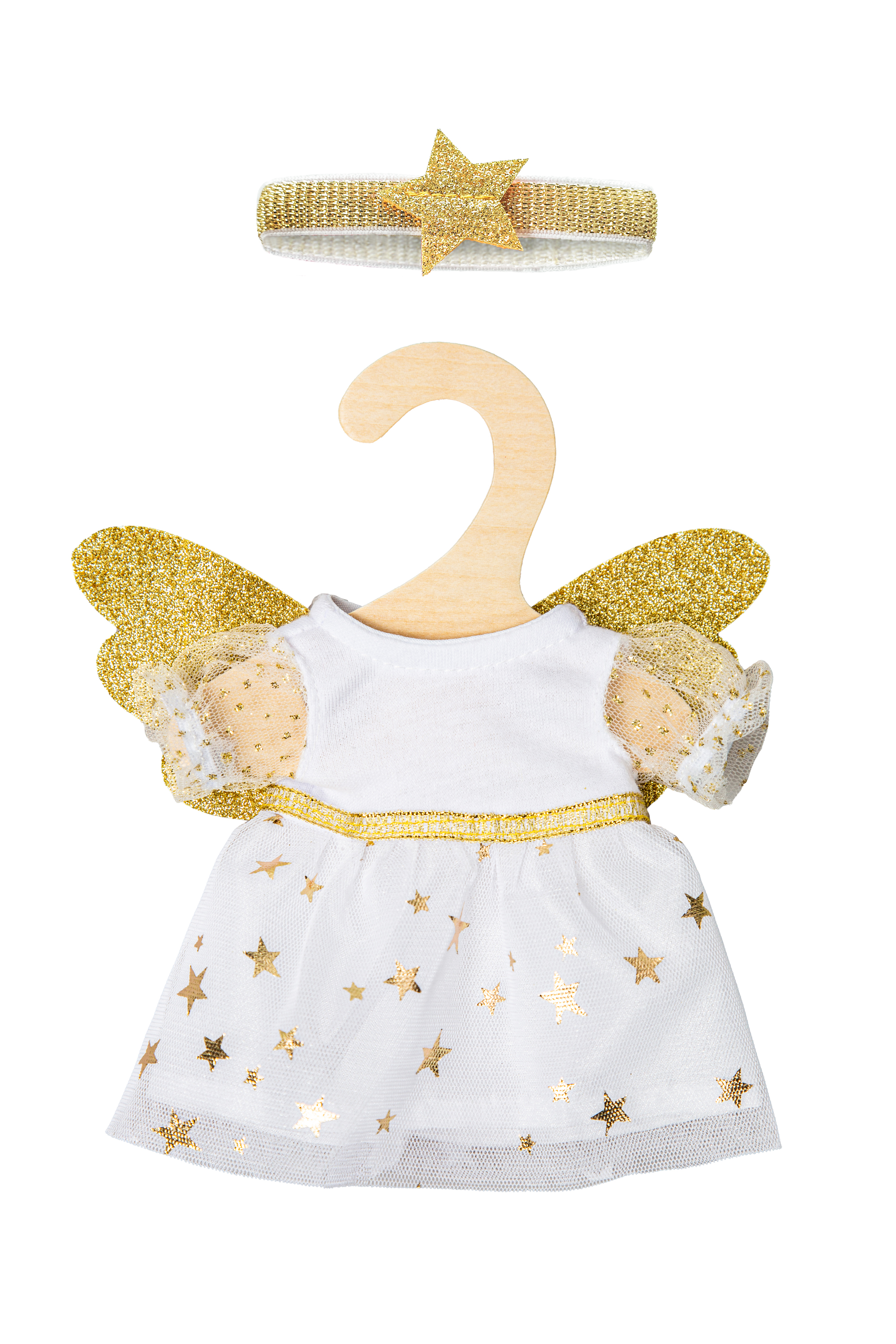 """Kleid """"Schutzengel"""" mit Sternen-Haarband, mini, Gr. 20-25 cm"""
