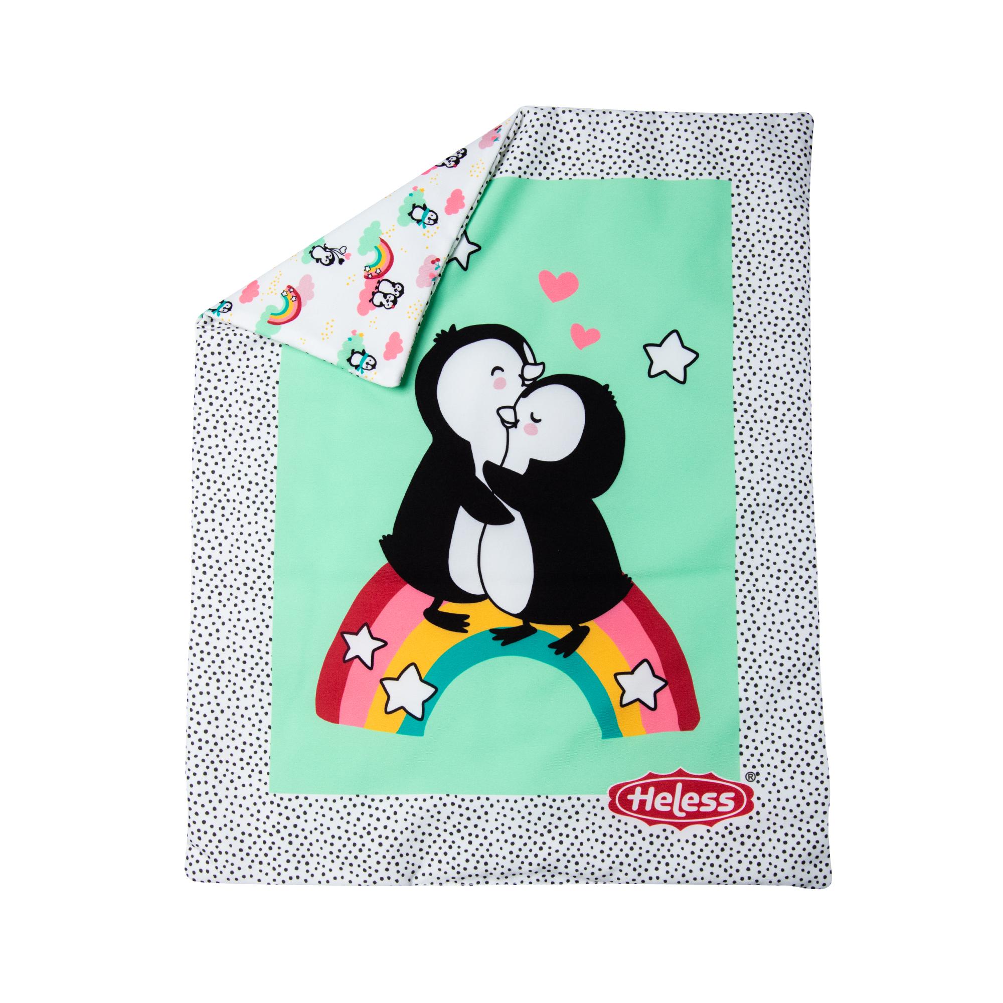 """Puppen-Bettdecke """"Pinguin Pünktchen"""" (44 x 34 cm) mit Kissen (16 x 16 cm)"""