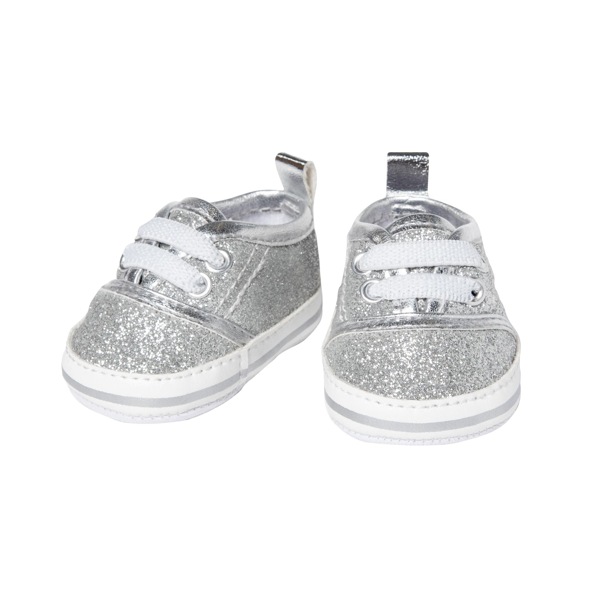 Glitzer-Sneakers, silber, Gr. 38-45 cm