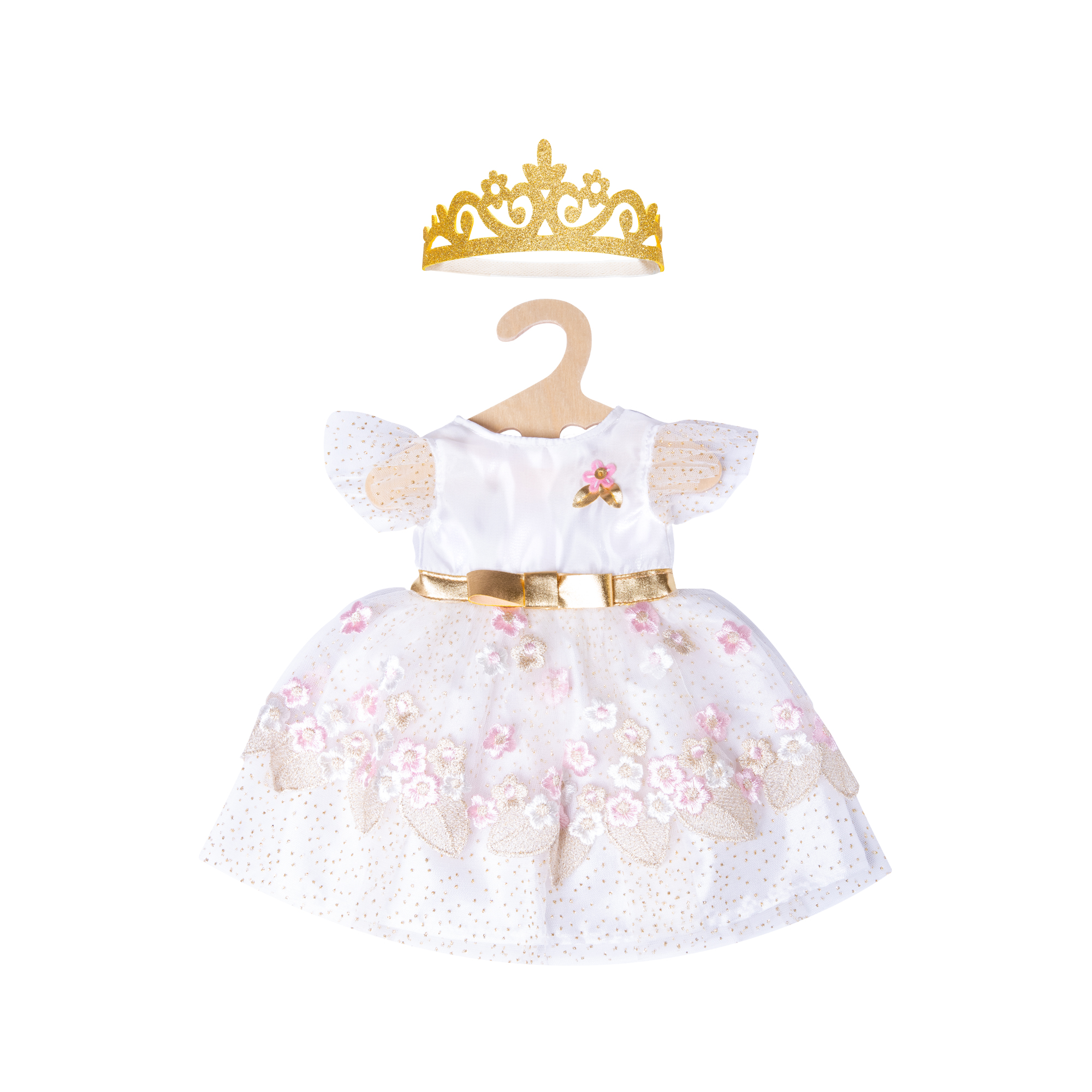 """Prinzessinnenkleid """"Kirschblüte"""" mit goldener Krone, Gr. 35-45 cm"""