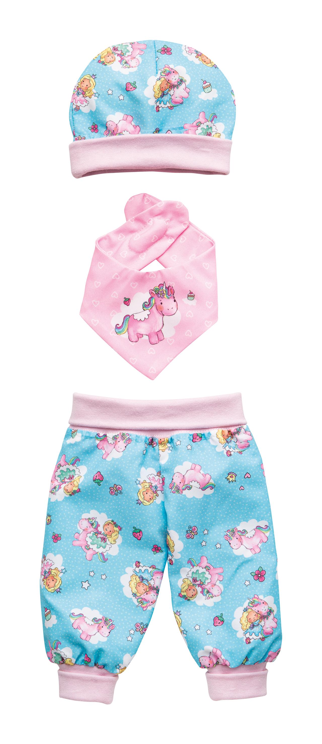 """Baby-Outfit """"Einhorn Emil & Fee Emma"""", 3-teilig, Gr. 35-45 cm"""