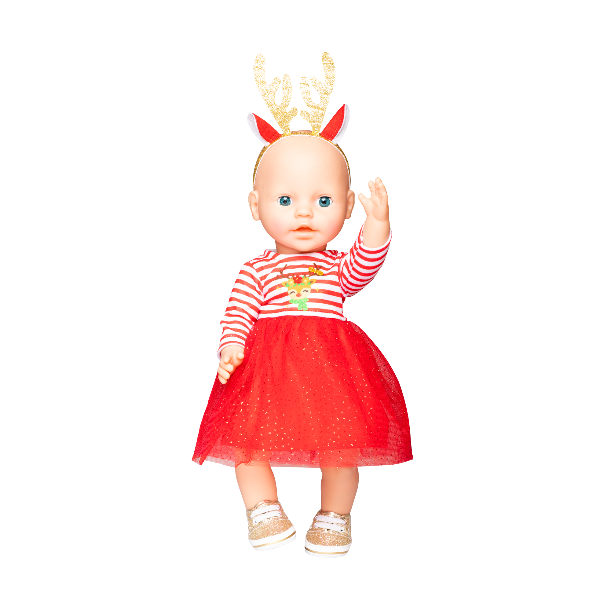 """Weihnachtskleid  mit Haarband """"Rentier Rudi"""", Gr. 28-35 cm"""